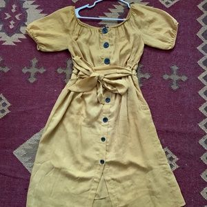 Mustard Zara Off the Shoulder Summer Dress